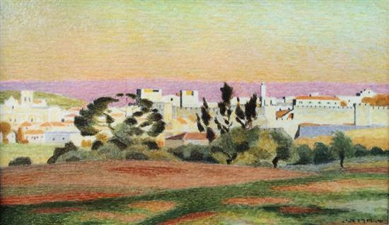 Shmuel Charuvi 1897-1965 (Israeli) Old City, Jerusalem watercolor on paper