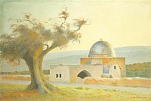 Shmuel Charuvi 1897-1965 (Israeli) Rachel's Tomb oil on canvas
