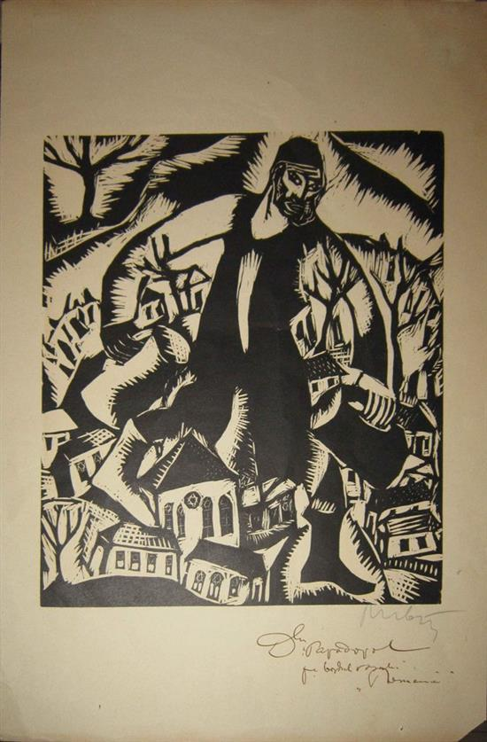 Reuven Rubin 1893-1974 (Israeli) Water carrier, from the album 'The God Seekers', first edition, 1923 woodcut