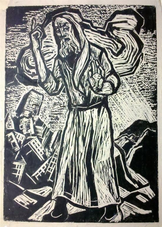 Jakob Steinhardt 1887-1968 (Israeli) Wandering Jew woodcut