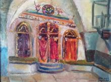 R. Hirschkorn 20th c. Ha'ari Hakadosh Synagogue in Safed, 1944 oil on board