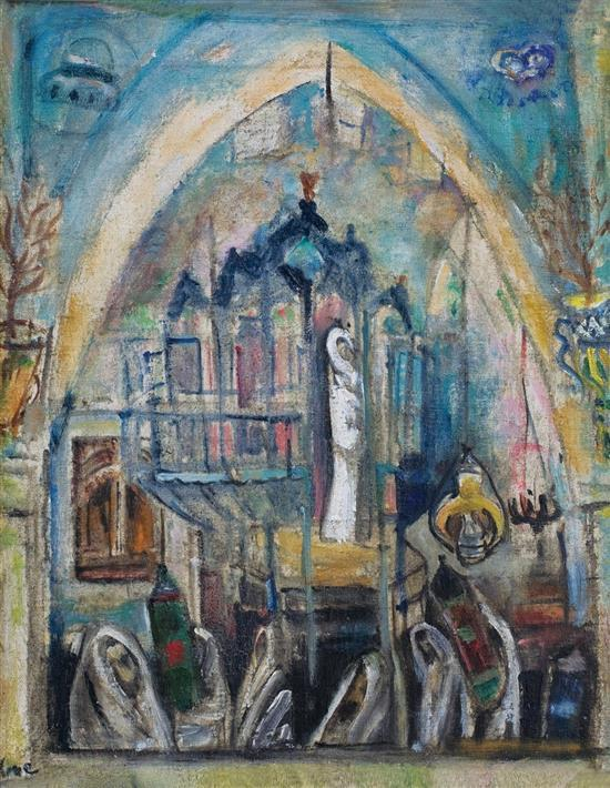 **Menachem Shemi 1897-1951 (Israeli) Synagogue in Safed, 1946 oil on canvas