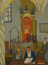 Shmuel Schlesinger 1896-1986 (Israeli) Synagogue in Safed oil on canvas