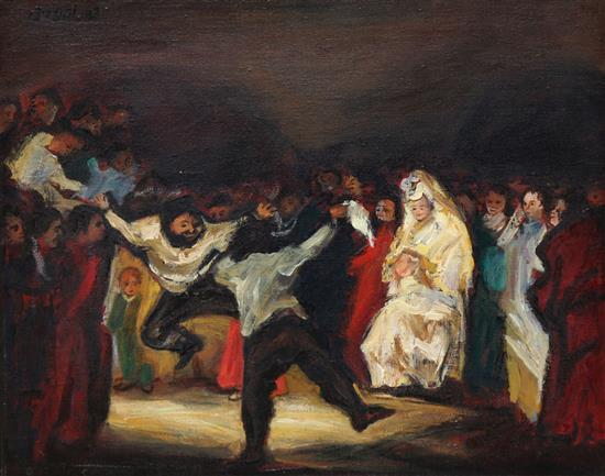 Zvi Malnovitzer b. 1945 (Israeli) Mitzvah dance oil on canvas