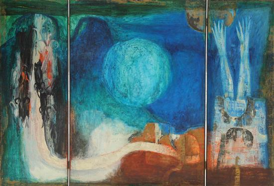 Shraga Weil 1918-2009 (Israeli) Pathways of Canaan- triptych, 1962 oil on canvas in metal and wood frame