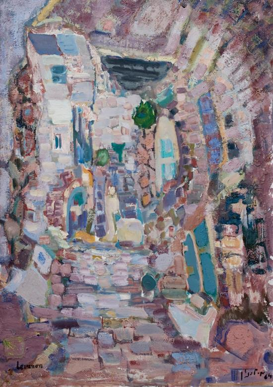 **Mordechai Levanon 1901-1968 (Israeli) Old Safed, 1964 oil on canvas
