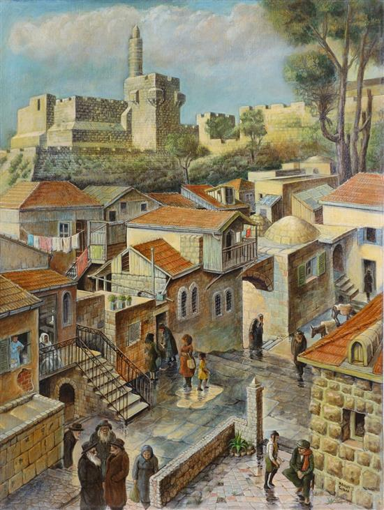 **Nahum Gilboa b.1917 (Israeli) Montefiore Neighborhood with the Tower of David oil on canvas