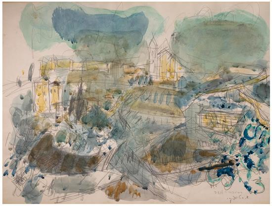 Avigdor Stematsky 1908-1989 (Israeli) Jerusalem watercolor on paper