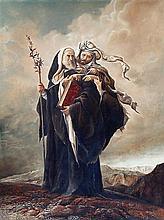 Samuel Bak b.1933 (Israeli) Moses and Aharon in the desert oil on canvas