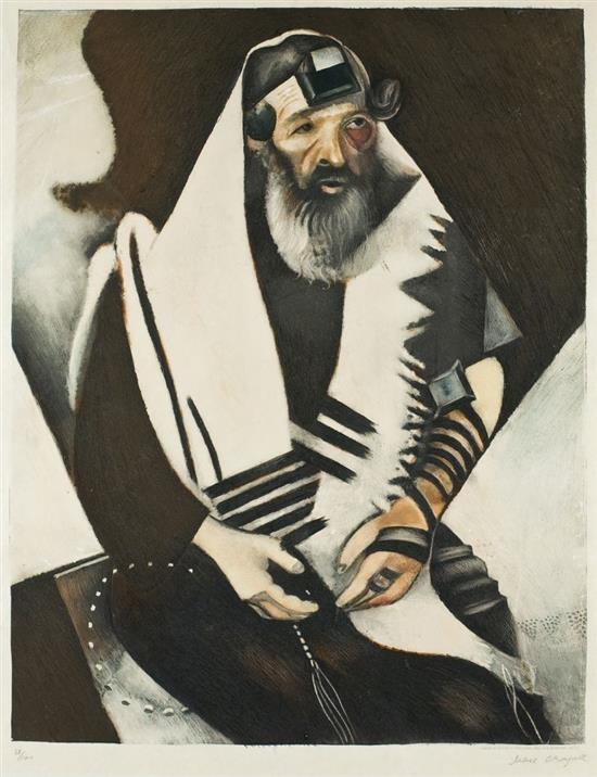 **Marc Chagall 1887-1985 (Russian, French) Le Rabbin, c.1920 etching in colors with chinecollי on Japan paper, published by Editions A.