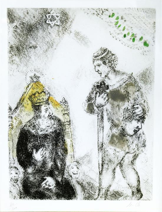 **Marc Chagall 1887-1985 (Russian, French) David before Saul, 1931-39, pl. 64 (from the Bible) hand colored etching