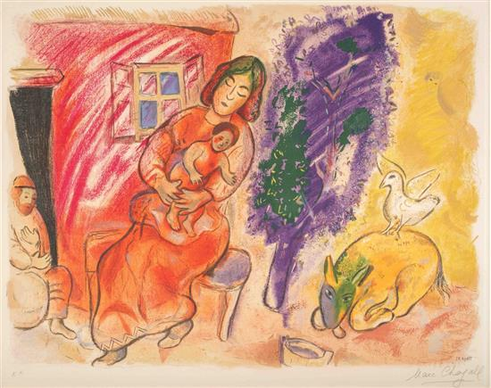 **Marc Chagall 1887-1985 (Russian, French) La Maternitי, 1954 color lithograph on Arches wove paper, edition of 300, published by Gale.