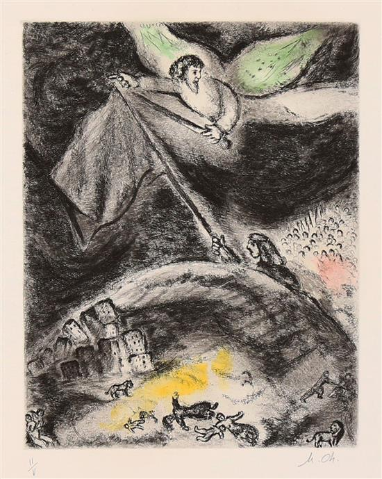 **Marc Chagall 1887-1985 (Russian, French) Oracle sur Babylone, 1958, pl. 93 (from the Bible) hand colored etching on Arches paper, pu.