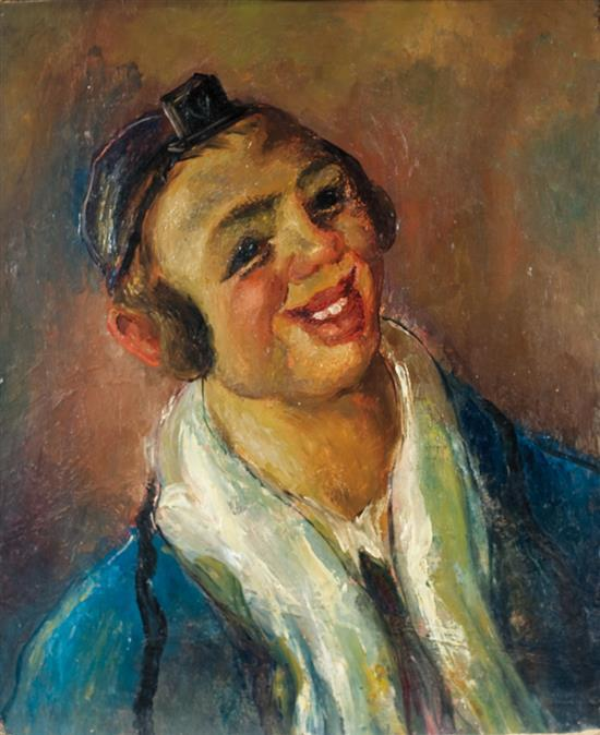 **Abraham Weinbaum 1890-1943 (Ukrainian) Portrait of a Jewish boy, c.1920 oil on cardboard