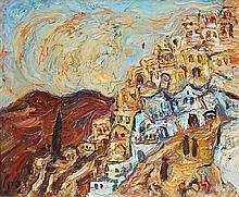 Yitzhak Frenkel Frenel 1899-1981 (Israeli) Safed landscape oil on canvas