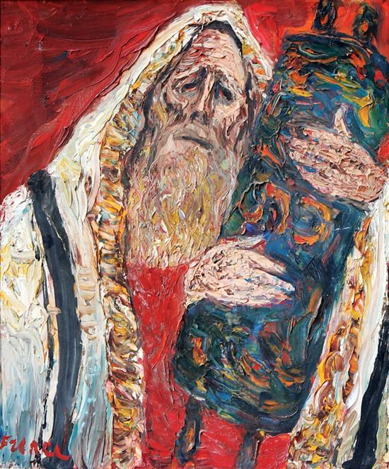 Yitzhak Frenkel Frenel 1899-1981 (Israeli) Rabbi holding Torah oil on canvas