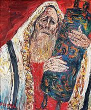 Yitzhak Frenkel Frenel 1899-1981 (Israeli) Rabbi holding Torah oil on canvas
