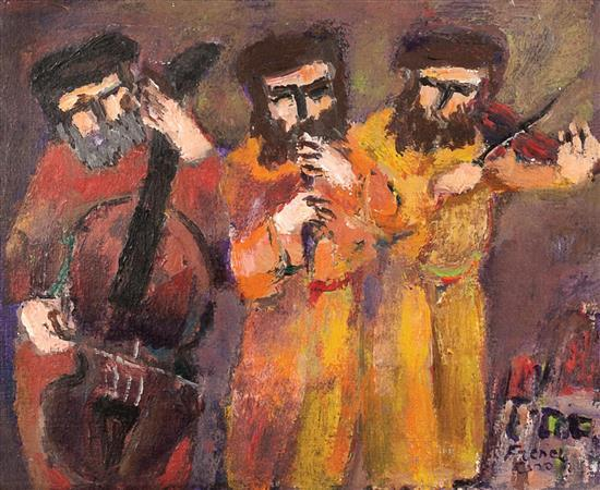 **Yitzhak Frenkel Frenel 1899-1981 (Israeli) Klezmers oil on canvas