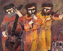 **Yitzhak Frenkel Frenel 1899-1981 (Israeli) Klezmers oil on canvas