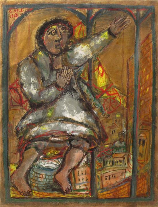 Shmuel Boneh 1930-1999 (Israeli) Figure, 1967 gouache on paper