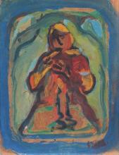 Yitzhak Frenkel Frenel 1899-1981 (Israeli) Flutist oil on cardboard