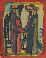 Yitzhak Frenkel Frenel 1899-1981 (Israeli) Hasidim in Safed oil on cardboard