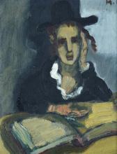 Mané Katz 1894-1962 (Ukrainian, French) Yeshiva student oil on canvas