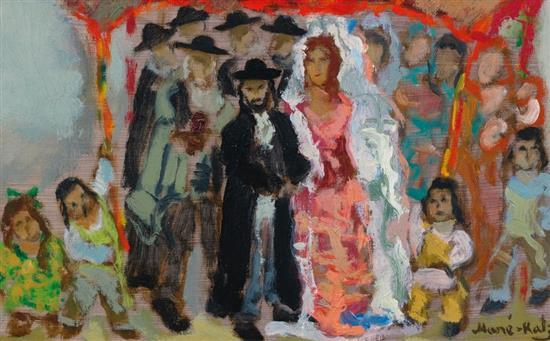 **Mané Katz 1894-1962 (Ukrainian, French) Jewish wedding oil on canvas