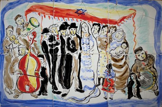 After Mané Katz 1894-1962 (Ukrainian, French) Wedding, 1959 hand painted by the artist on 6 glazed ceramic tiles