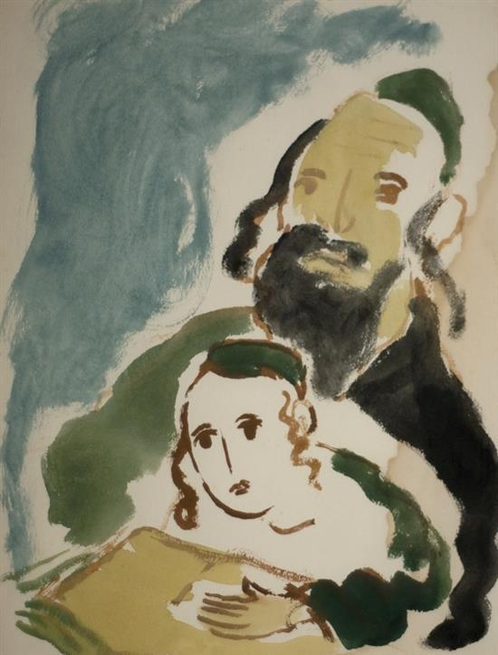 Manי Katz 1894-1962 (Ukrainian, French) Father and son watercolor on paper