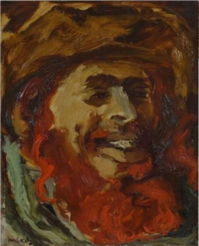 **Mané Katz 1894-1962 (Ukrainian, French) Laughing Hassid oil on canvas