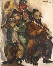 **Mané Katz 1894-1962 (Ukrainian, French) Musicians, 1930 oil on canvas