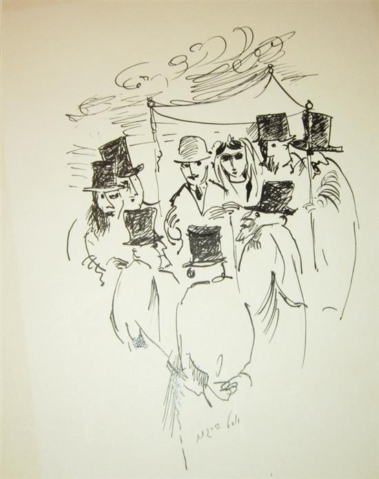 Yosl Bergner b.1920 (Israeli) Wedding, 1960's ink on paper