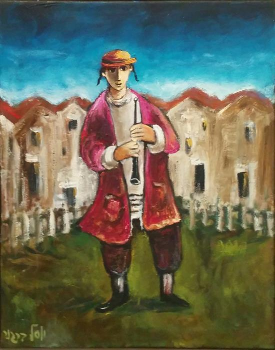 Yosl Bergner b.1920 (Israeli) Flutist oil on canvas