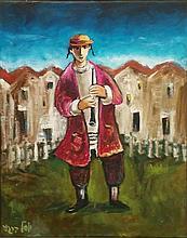 Yosl Bergner b.1920 (Israeli) Flutist oil on canvas