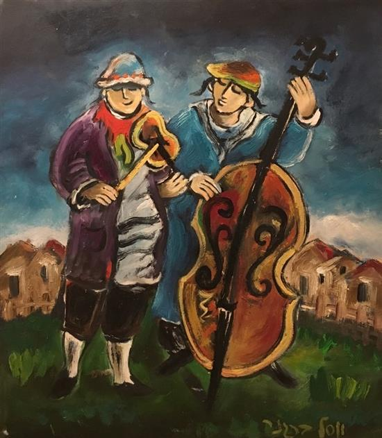 Yosl Bergner b.1920 (Israeli) Kleizmers oil on paper mounted on canvas