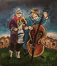 Yosl Bergner b.1920 (Israeli) Kleizmers oil on paper mounted on canvas