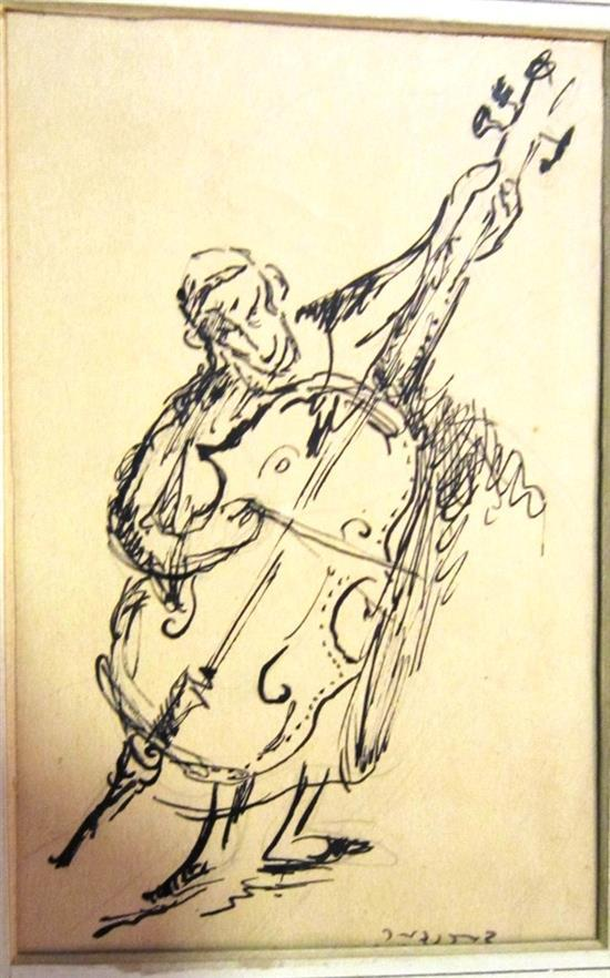 Yosl Bergner b.1920 (Israeli) Cello player, 1960's ink on paper