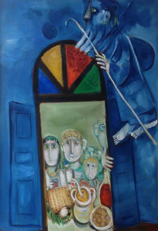 **Leo Roth 1914-2002 (Israeli) Elijah during the Seder oil on canvas