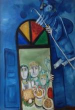 **Leo Roth 1914-2002 (Israeli) Elijah during the Seder oil on canvas