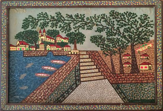 Haim Harbon 1900-1990 (Israeli) Jaffa view mixed media on cardboard