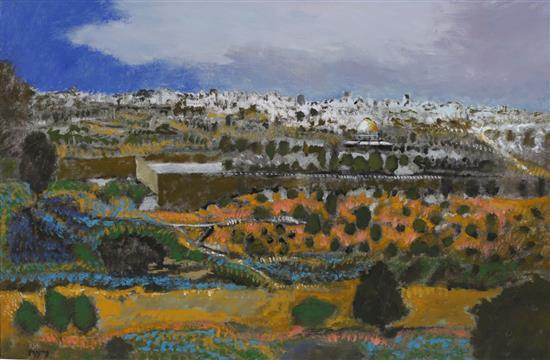 Oded Feingersh b.1938 (Israeli) Jerusalem view. Temple mount oil on canvas