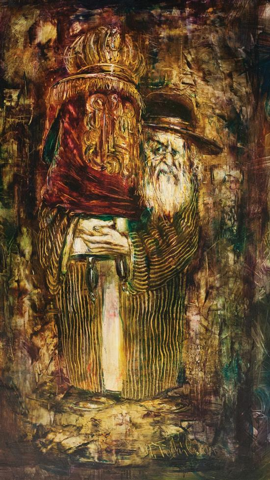 Mark Tochilkin b.1958 (Ukrainian, Israeli) Rabbi holding Torah oil on paper mounted on canvas