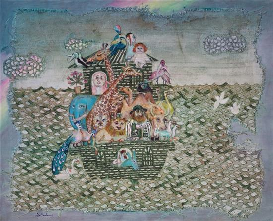 Ina Belous b.1960 (Ukrainian, Israeli) Noah's Ark, 1999 oil and mixed media on canvas