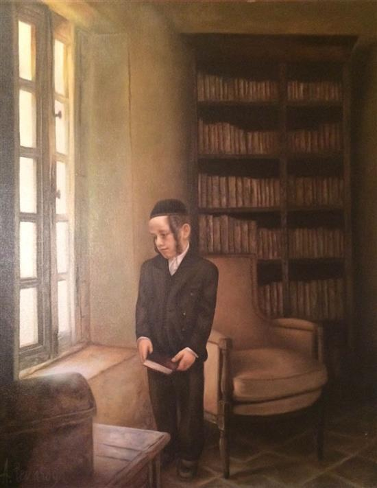 Albert Benaroya b.1963 (Israeli) Young boy oil on canvas