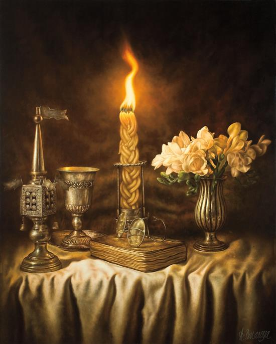 Albert Benaroya b.1963 (Israeli) Havdallah oil on canvas