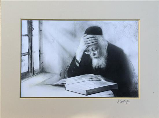 Albert Benaroya b.1963 (Israeli) Rabbi Elyashiv charcoal on paper