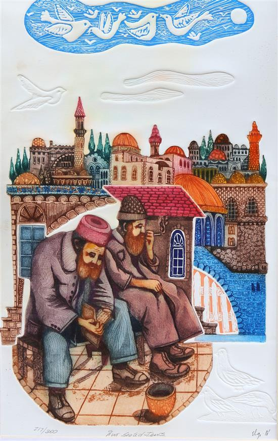 Amram Ebgi b.1939 (Israeli, American) Two seated Jews embossed etching with copper