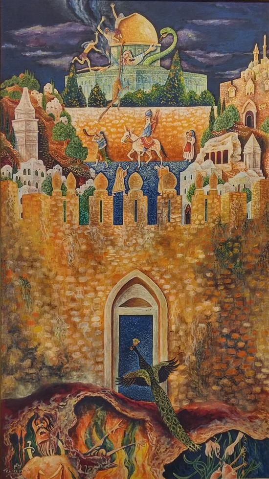 Baruch Nachshon b.1939 (Israeli) Apocalyptic scene oil on canvas