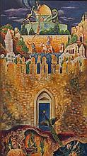 Baruch Nachshon b.1939 (Israeli) Apocalyptic scene oil on canvas